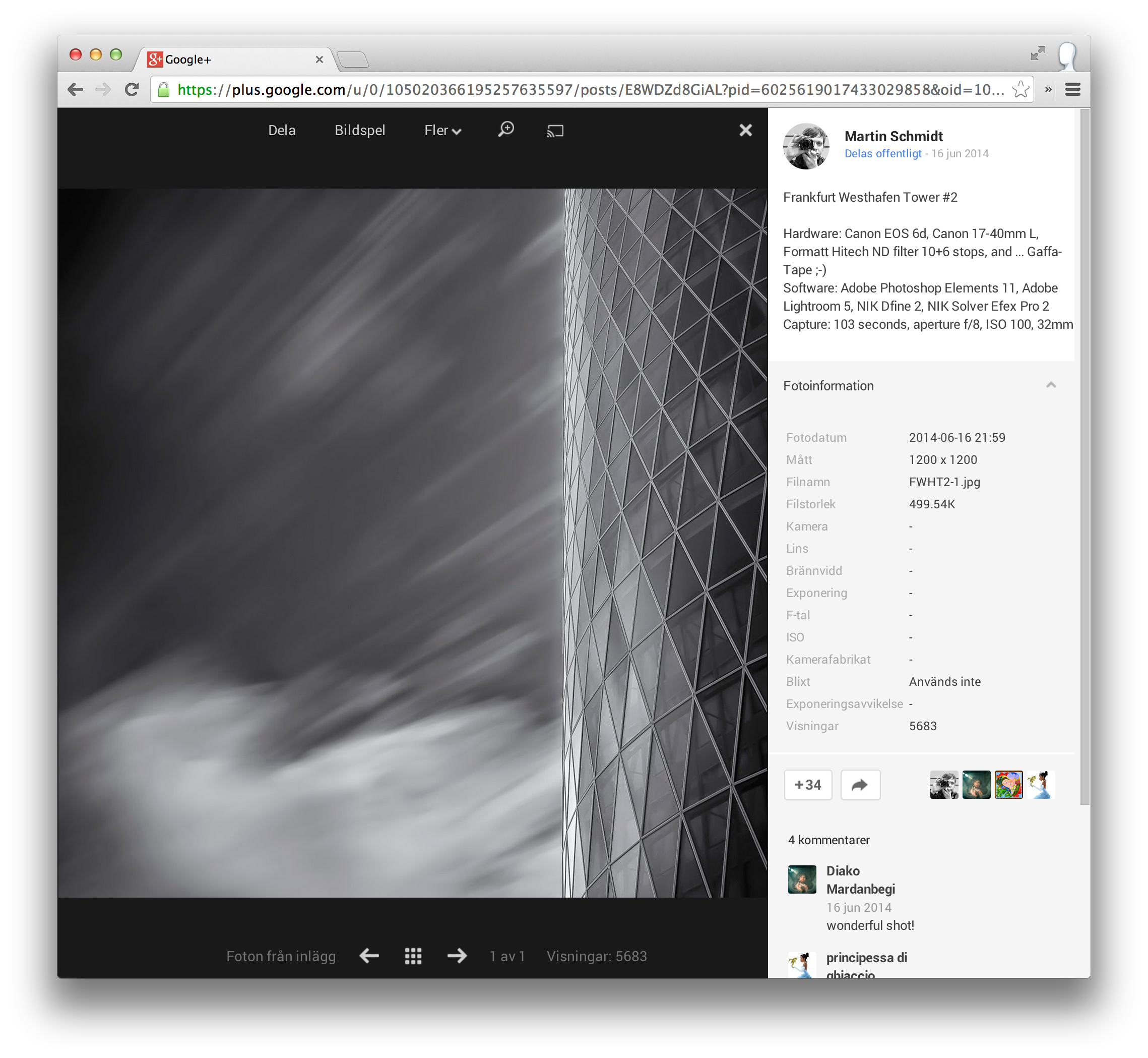 Google+ photo views works on all public posts